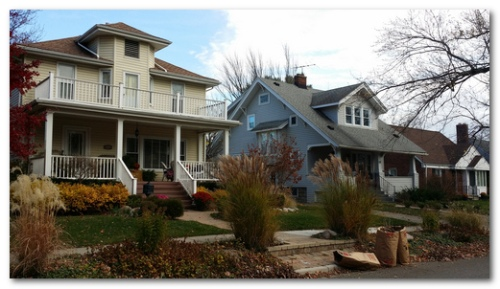 Duplexes like the one on the left add density while matching the form of adjacent homes.